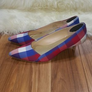 Sole Society Red and Blue Plaid Kitten Heel 8.5